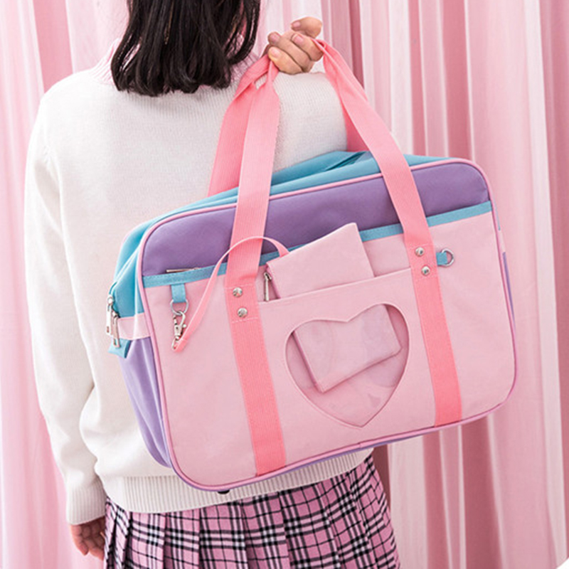Preppy Style Pink Travel Shoulder School Bags For Women Girls Canvas Large Capacity Casual Luggage Organizer Handbags Totes casual style print and canvas design satchel for women