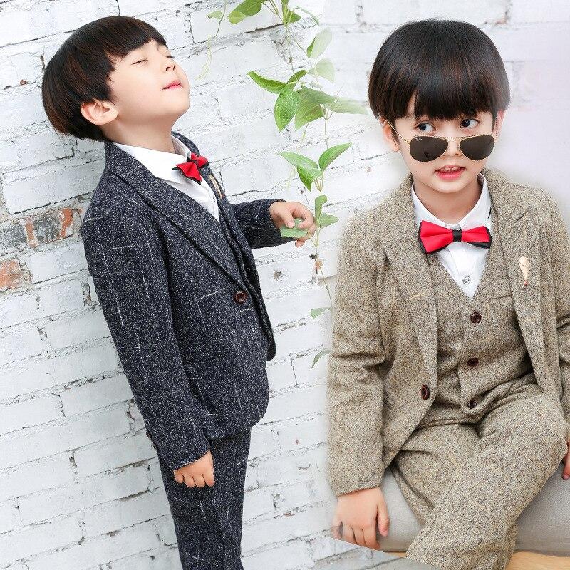 Child Blazer Suit Wool Coat + Vest + Pant 3pcs Kid Clothing Set ...