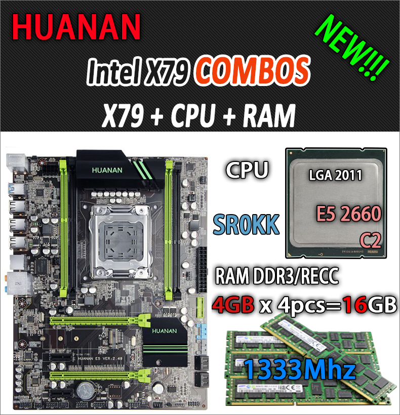 HUANAN golden V2.49 X79 motherboard LGA2011 ATX combos E5 2660 C2 SR0KK 4 x 4G 16GB 1333Mhz USB3.0 SATA3 PCI-E NVME M.2 SSD