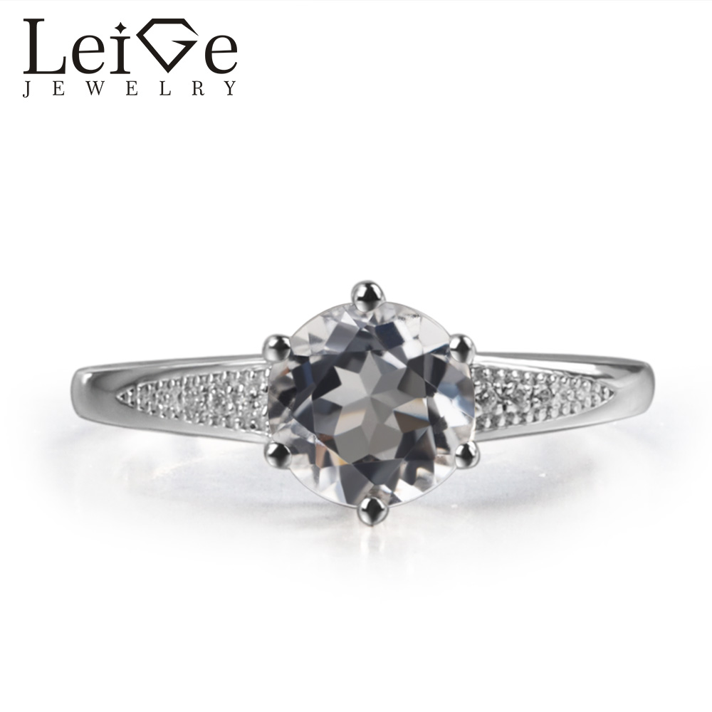 Leige Jewelry Natural White Topaz Gem Prong Setting Round Shape Prong Setting Carve Rings November Birthstone For WomanLeige Jewelry Natural White Topaz Gem Prong Setting Round Shape Prong Setting Carve Rings November Birthstone For Woman