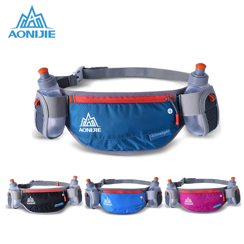 AONIJIE Unisex Running Waist Bag For Marathon Cycling Belt Bum Bag Storage Pockets With 2 Water Bottles