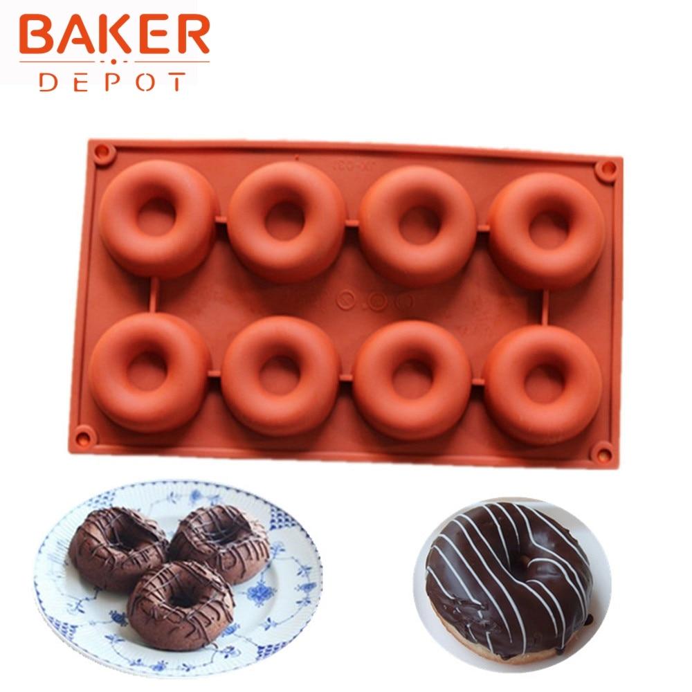 silikon kaka form 8 gitter munkar pudding mögel cirkelformad formverktyg CDSM-086