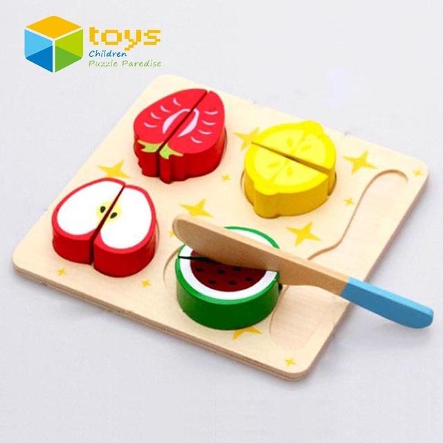 BRICOLAGE En Bois Cut Fruit Puzzle De Coupe Légumes Dessert Jouer Cuisine Jouets pour Enfants Kid Jouer à Faire Semblant de Cuisson Au Début de L'éducation