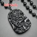 Высокое качество натуральный черный обсидиан рука-резные китайский дракон ожерелье 18 ~ 24 '' регулируемые сеть ювелирных # 28