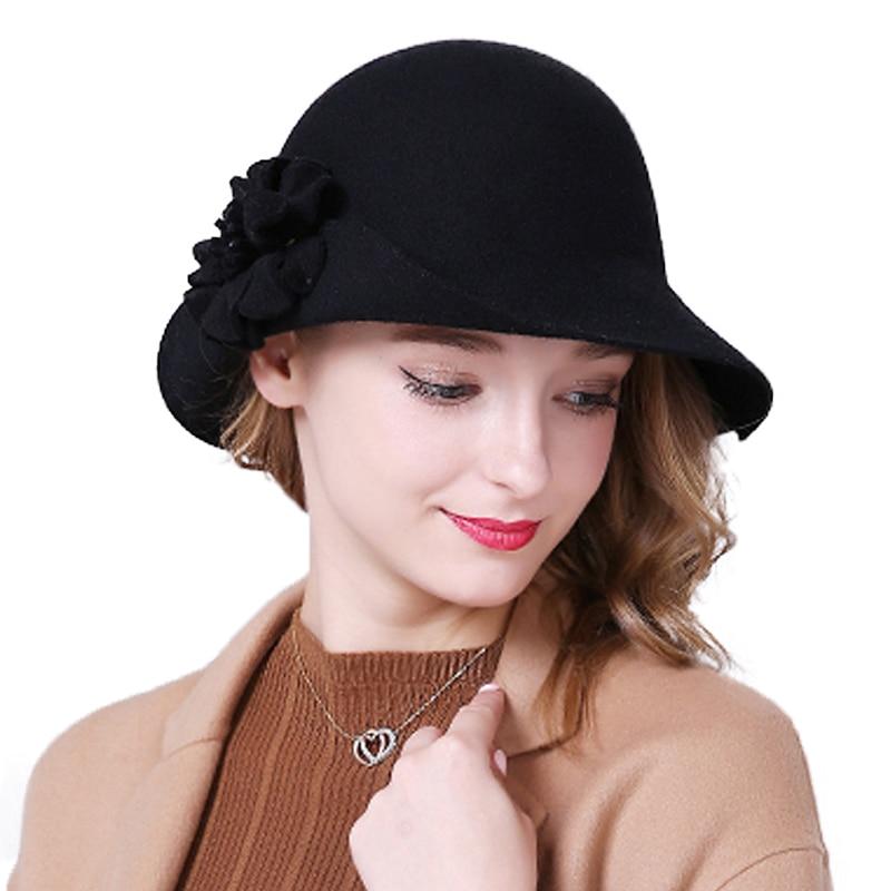 FS Donne Del Cappello di Autunno 100% Lana Elegante Rosso Blu Nero Cappelli  stile Fedora e borsalino Vintage Largo del Bordo Delle Signore Cappelli di  ... 429196392a4d