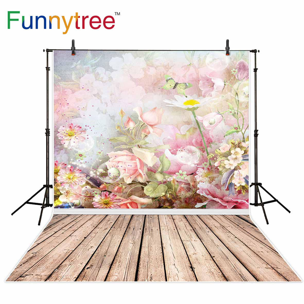 Funnytree background for photo studio spring flower butterfly vintage bokeh wood backdrop photography photocall photobooth