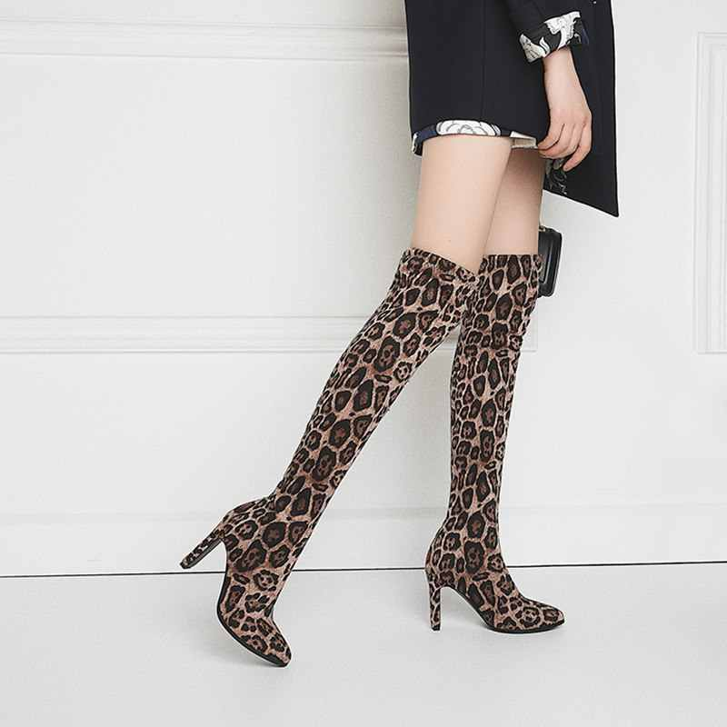 MORAZORA 2020 yeni diz çizmeler üzerinde kadın 9cm yüksek topuklu bayanlar uyluk yüksek çizmeler sonbahar ayakkabı moda leopar uzun çizmeler kadın