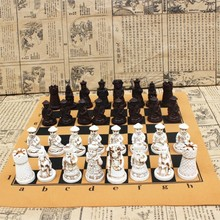Yernea Antique Chess Medium Piece Board Resin  Lifelike Pieces Characters Cartoon Entertainment Gifts
