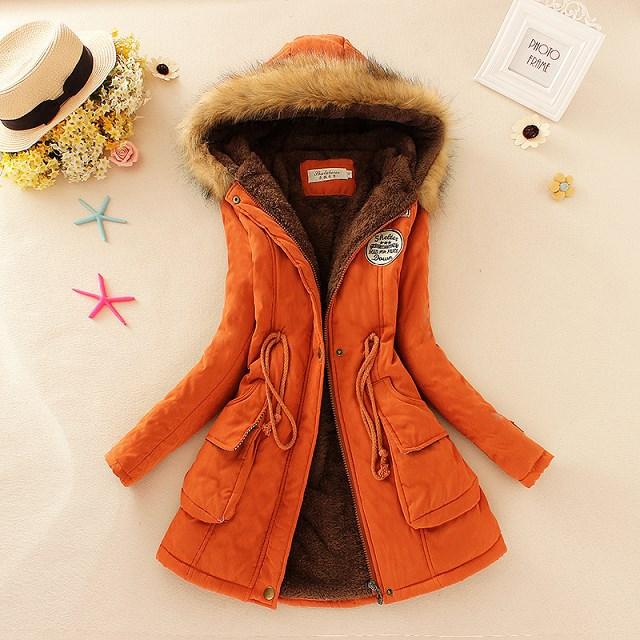 19 Winter New Women's Hooded Fur Collar Waist And Velvet Thick Warm Long Cotton Coat Jacket Coat 12