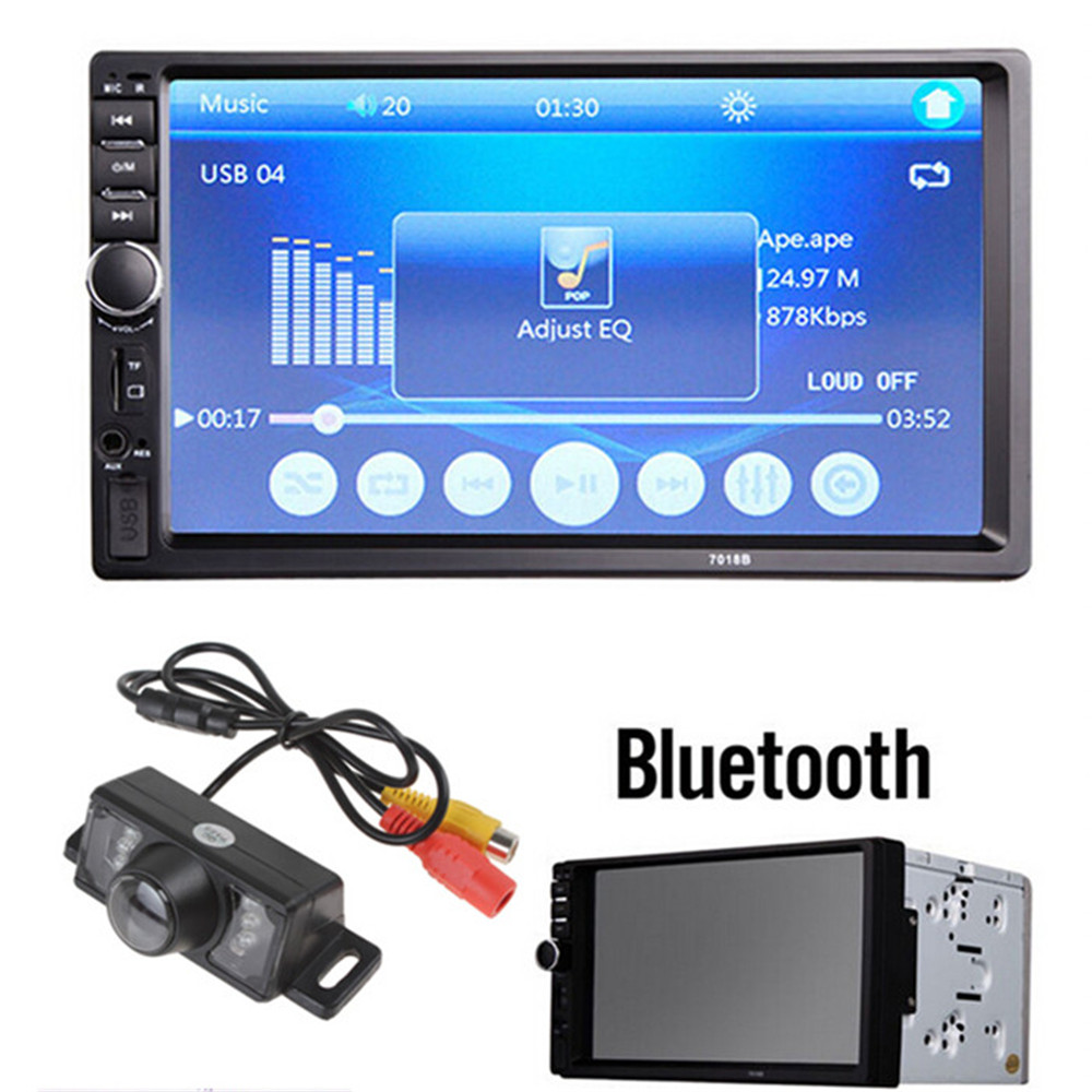 7018B 45W x 4 7 Inch LCD HD Double DIN Car In-Dash Touch Screen Bluetooth Car Stereo FM MP3 MP5 Radio Player +1/4 CMOS Camera