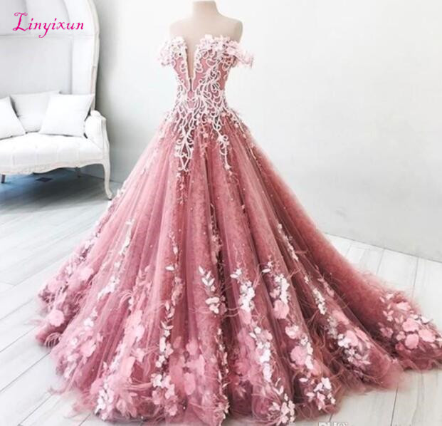 Princess 2019   Prom     Dresses   Long Off The Shoulder Appliques Long Lace Evening Gowns Quinceanera Vestidos Custom Made Bridal Guest