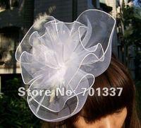 WhiteFASCINATOR Dances Races Weddings Party HAT Costume Purple Flower Hair Hat H005