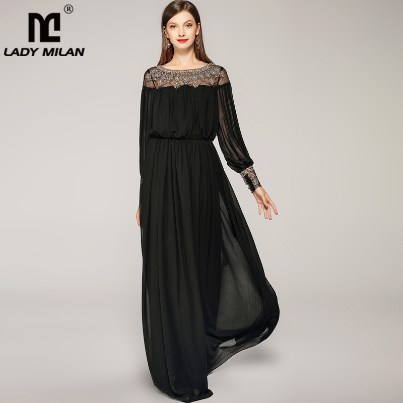 New Arrival 2019 Spring Summer Women s O Neck Long Sleeves Beaded Patchwork Elegant A Line