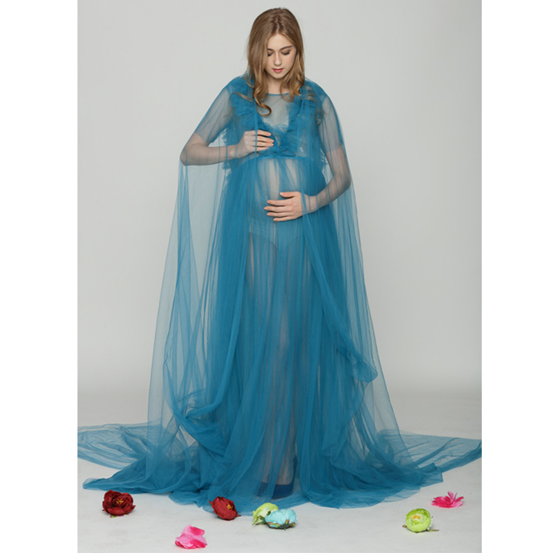 SMDPPWDBB Blue Sexy Maternity Dresses Maternity Photography Props Women Voile Dress Maternity Dress for Photo Shoot Long Dress chic spaghetti strap pure color tank top ruffled collar long sleeve voile dress twinset for women