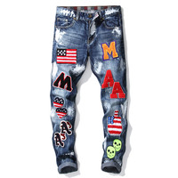 European American Style famous brand mens Denim jeans Men straight denim trousers zipper print Slim blue Patches jeans for men