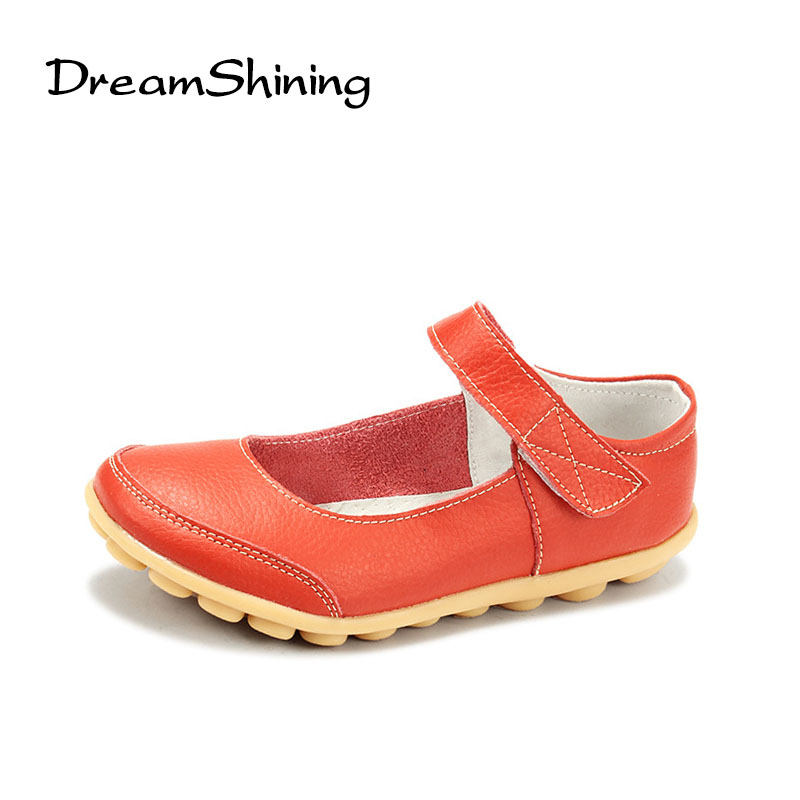 DreamShining Summer Leather Hook & Loop Women Flats Moccasins Comfortable Woman Shoes Cut-outs Leisure Flat Woman Casual Shoes