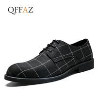 QFFAZ Men Shoes High Quality Pointed Toe Dress Shoes Breathable Black Lace Up Business Men Shoes Casual Zapatos Hombre