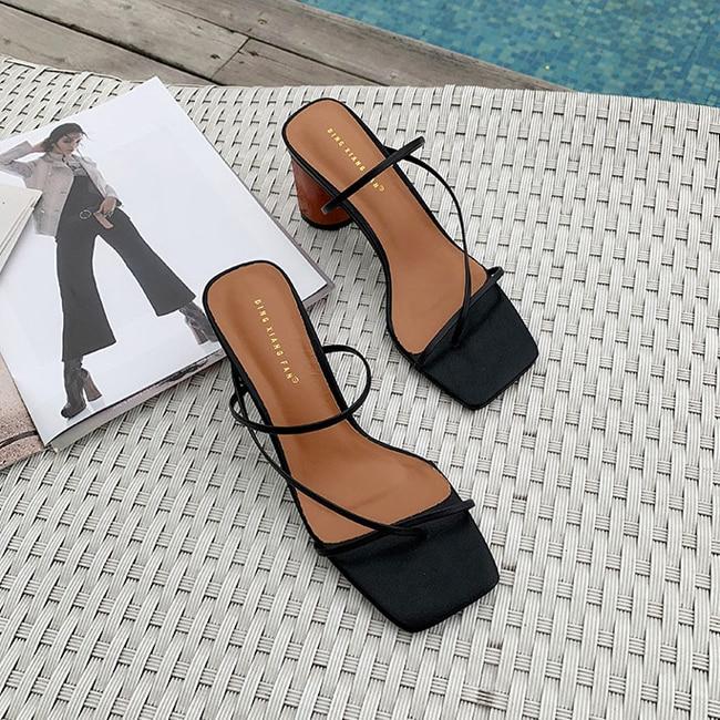 HTB1TjHmbq5s3KVjSZFNq6AD3FXau MONMOIRA Wood Heel Slipper Women's Sandals Vintage Square Toe Narrow Band High Heel Sandals Women Summer Shoes Women SWC0713