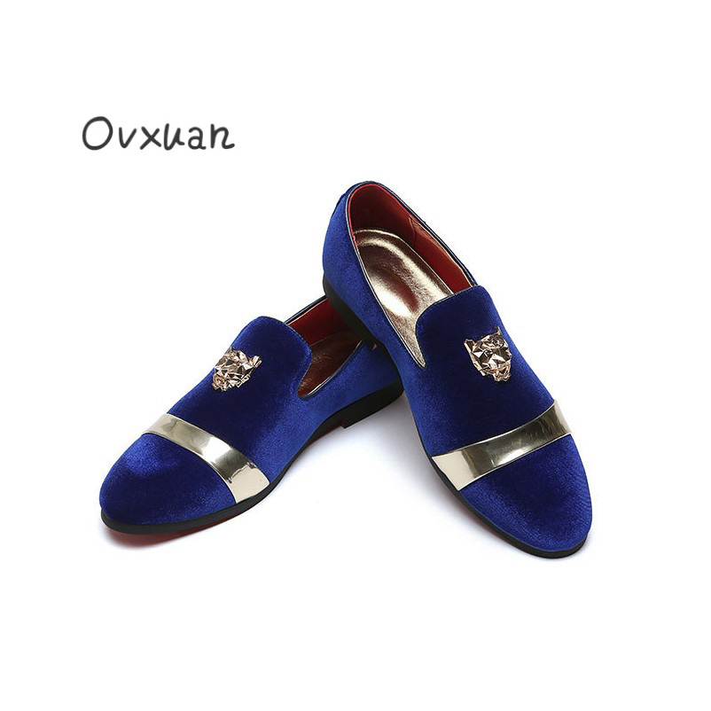 Ovxuan Metal Tiger Face Men Loafers Casual Slip On Shoes Gold Buckle Velvet Shoes Man Flats Fashion Party Wedding Dress Shoes ovxuan metal skull buckle handmade men ankle shoes punk party dress loafers glitter bright sequins men flats casual rivets shoes