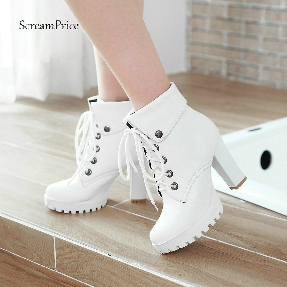 Women Platform Boots Soft Pu Leather Ankle Boots Fashion Lace Up Square High Heels Boots Autumn Winter Plus Size Shoes 2018 New