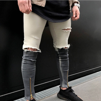 Wholesale 2018 Fashion Casual Double color patchwork high street motorcycle Biker pants Knee hole Zipper leg skinny jeans men