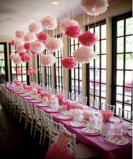 Cute Babyshower Decoration 20cm 8 Inch Tissue Paper Flowers Pom Poms Lanterns Party Decor