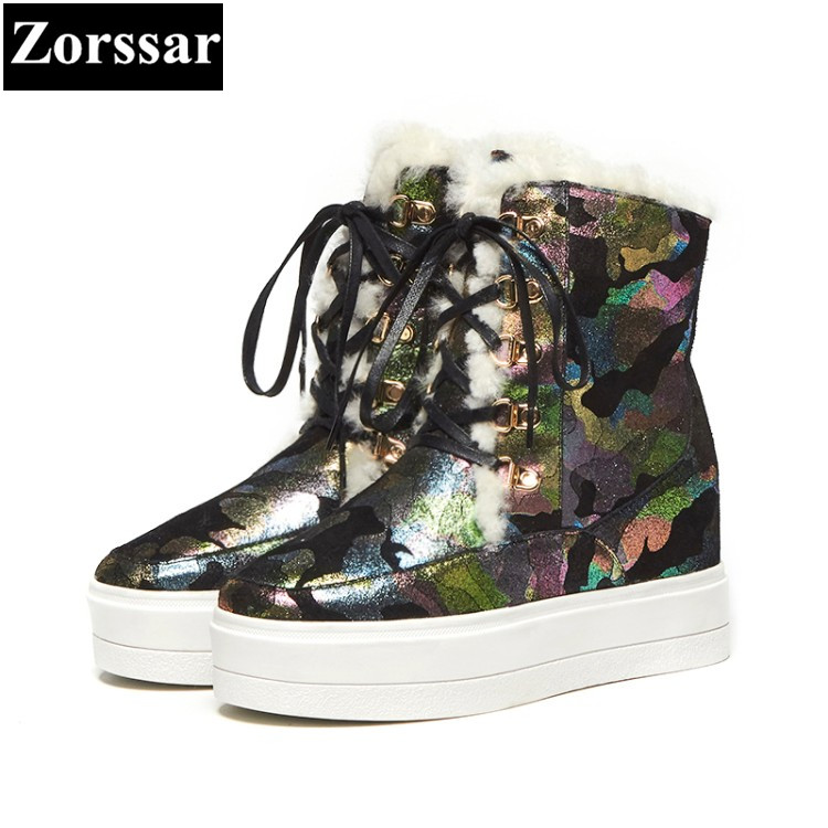 {Zorssar}2017 NEW arrival winter shearling Women Boots Genuine Leather platform ankle snow Boots fashion High heels womens shoes zorssar 2017 new winter ladies shoes fashion real leather women ankle boots high heels platform womens martin boots size 33 43