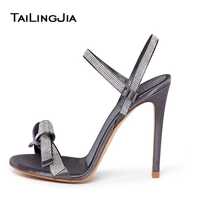 2016 Open Toe Buckle Strap Rhinestone Decorations High Heel Shoes A Knot Design At Front Luxurious Women Shoes