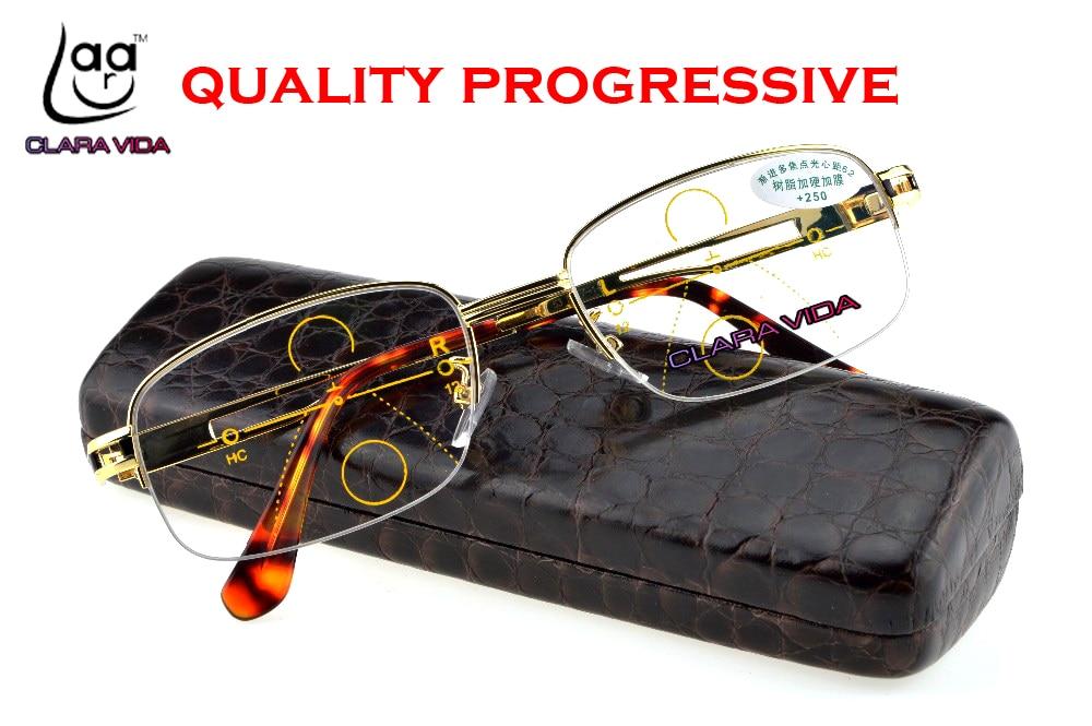 CLARA VIDA GOLD Progressive Multifocal Reading Glasses Mens Gold See Near Far Ultra Light Alloy Intelligence