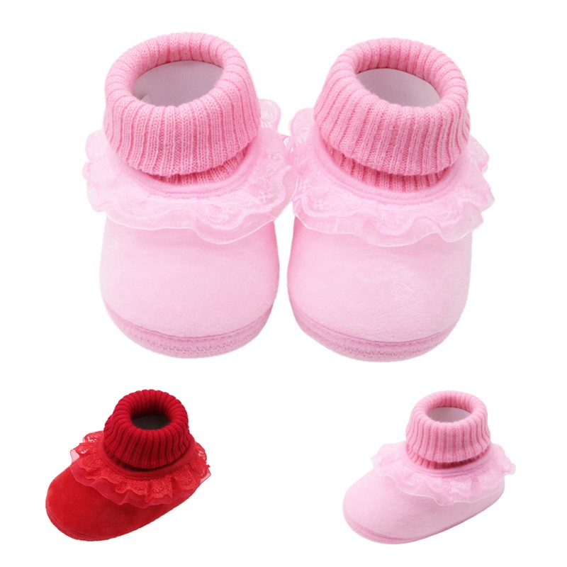 Winter Baby Shoes Sofe Anti-slip Flower Newborn Boys Girls Shoes First Walkers Baby Moccasins