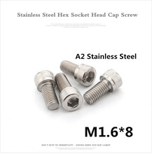 1000 unids/lote DIN912 M1.6 * 8 A2 de acero inoxidable de cabeza hexagonal tornillo