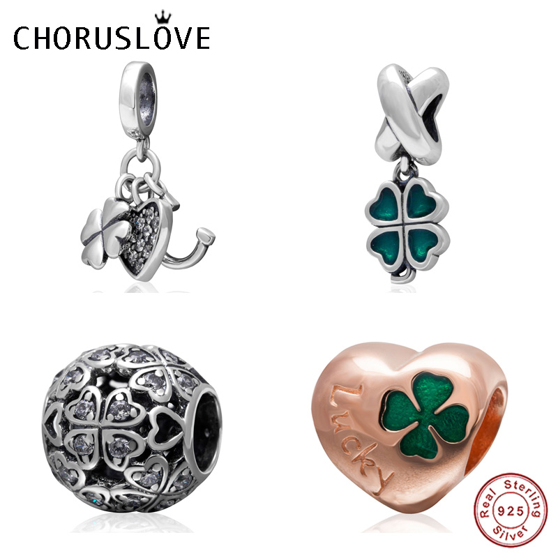 Choruslove Green Four Leaf Clover Charm 925 Sterling Silver Shamrock Beads fit Pandora Lucky Series DIY Bracelet Jewelry