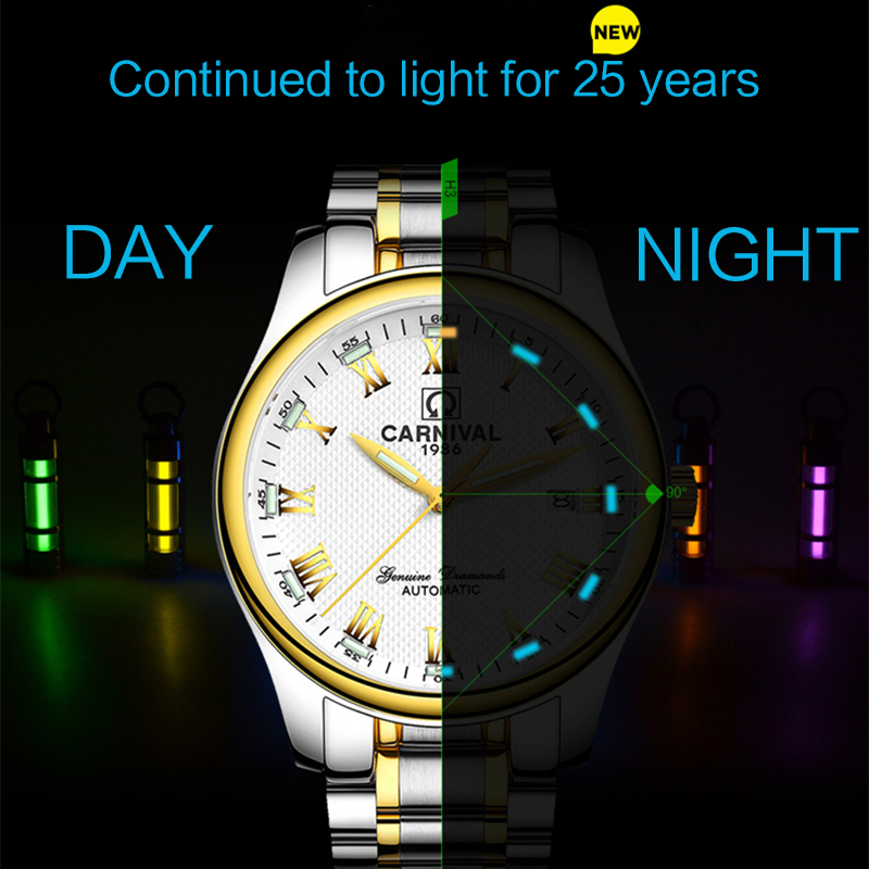 Luxury Brand Carnival Tritium Luminous Rhinestone Casual Fashion Watch Automatic Mechanical Men Sapphire Steel Watches new 2016 kids girl beauty and beast cosplay carnival costume kids belle princess dress for christmas halloween fantasia infantil