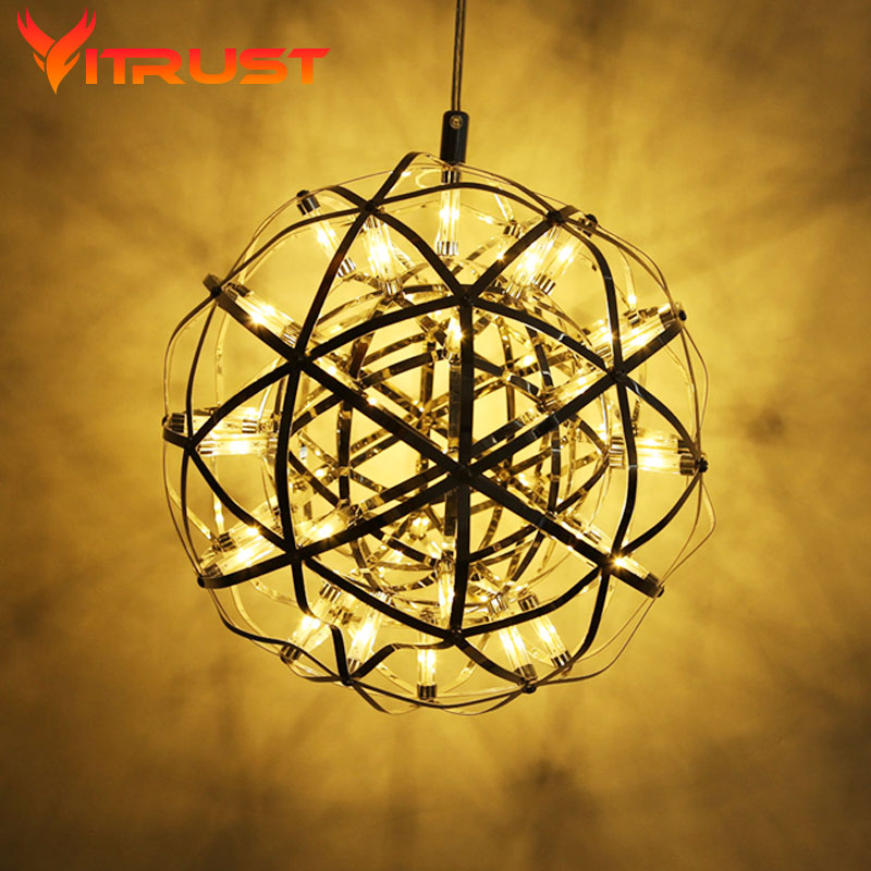 pendant ball lamps Creative ball hanging lamps fashion hang lamp Firework Shape pendant lights lustres stainless Steel