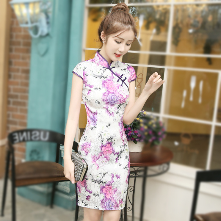 Fashion Purple Printing Short Modern Oriental Chinese Traditional Dresses China Cotton Qipao Cheongsam Chi Pao Violet Shanghai