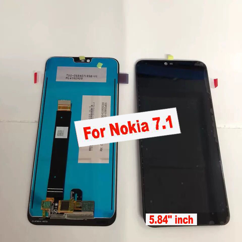 LTPro Original Best Working 5.84 For Nokia 7.1 LCD Display Touch Screen Digitizer Assembly Sensor Glass Panel Phone Parts Black