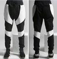Nova Mens Black White Patchwork Moletom 2016 Calças Calças de Algodão de Moda Calças de Marca Hip Hop