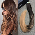 Full Shine Tape in Hair Extensions Real Brazilian Human Hair Dip Dye Color #2 and #27 Glue in Balayage Human Hair Extensions
