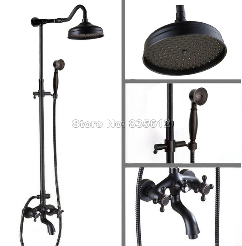 Black Oil Rubbed Bronze Bathroom Rain Shower Faucet Set Wall Mount Dual Handles Tub Mixer Tap with 8 Round Shower Head Wrs754