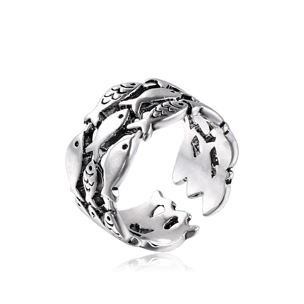 2019 liujun brand jewelry vintage Small fish pattern rings silver adjustable womens rings jewelry men initial wave couple rings