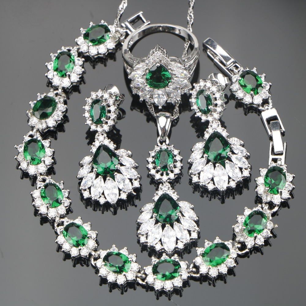 Silver 925 Jewelry Green Zirconia Bridal Women Jewelry Sets Earrings With Stones Set of Bracelets Pendant Necklace Ring Gift Box