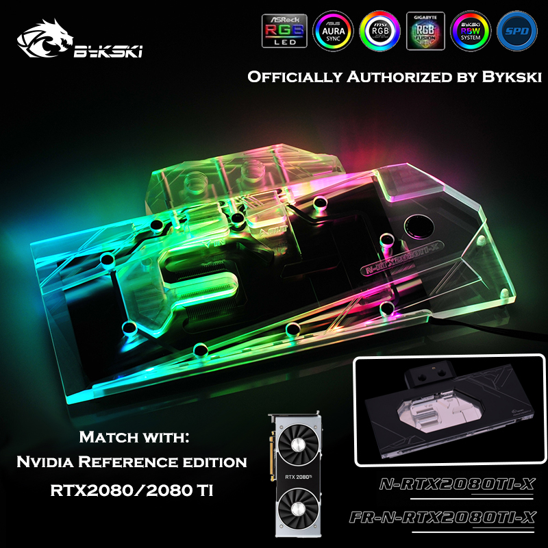 Bykski N-RTX2080Ti-X FR-N-RTX2080Ti-X Water Block use for <font><b>NVIDIA</b></font> GeForce <font><b>RTX</b></font> <font><b>2080Ti</b></font>/2080 Reference Founders Full Cover GPU Block image