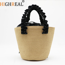 HIGHREAL Beach Bag for Summer Big Straw Bags Handmade Woven Tote Women Travel Handbags Luxury Designer Shopping Hand Bags