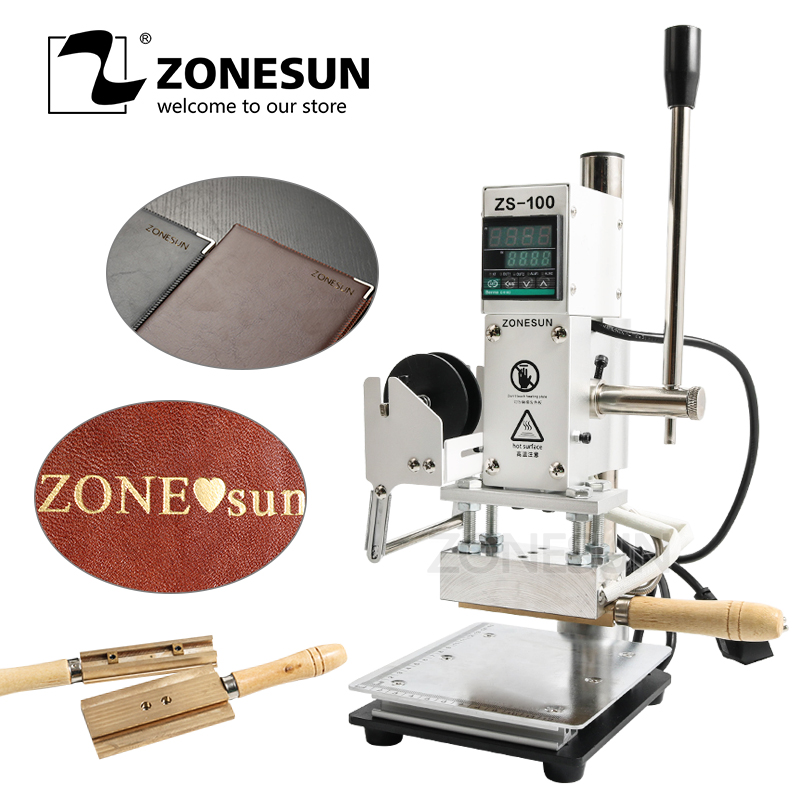 ZONESUN With Scale Hot Foil Stamping Machine Manual Bronzing Machine for PVC Card leather and paper stamping range 5x10cm цена
