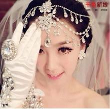 TS082 Bridal jewelry pearl tiara crown alloy rhinestone hair ornaments Party Crysta Hair Cuff Pin Head Band Chains Hair jewelry