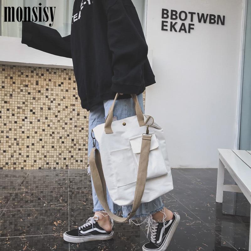 ca82028f1ff2 Monsisy девушка холщовые сумки на плечо Экологичная сумка для покупок сумка  сумки через плечо Сумочки Повседневная