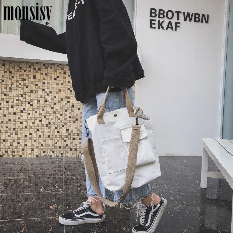 Monsisy Girl Canvas Shoulder Bags Environmental Shopping Bag Tote Package Crossbody Bags Purses Casual Handbag For Women Bolsa