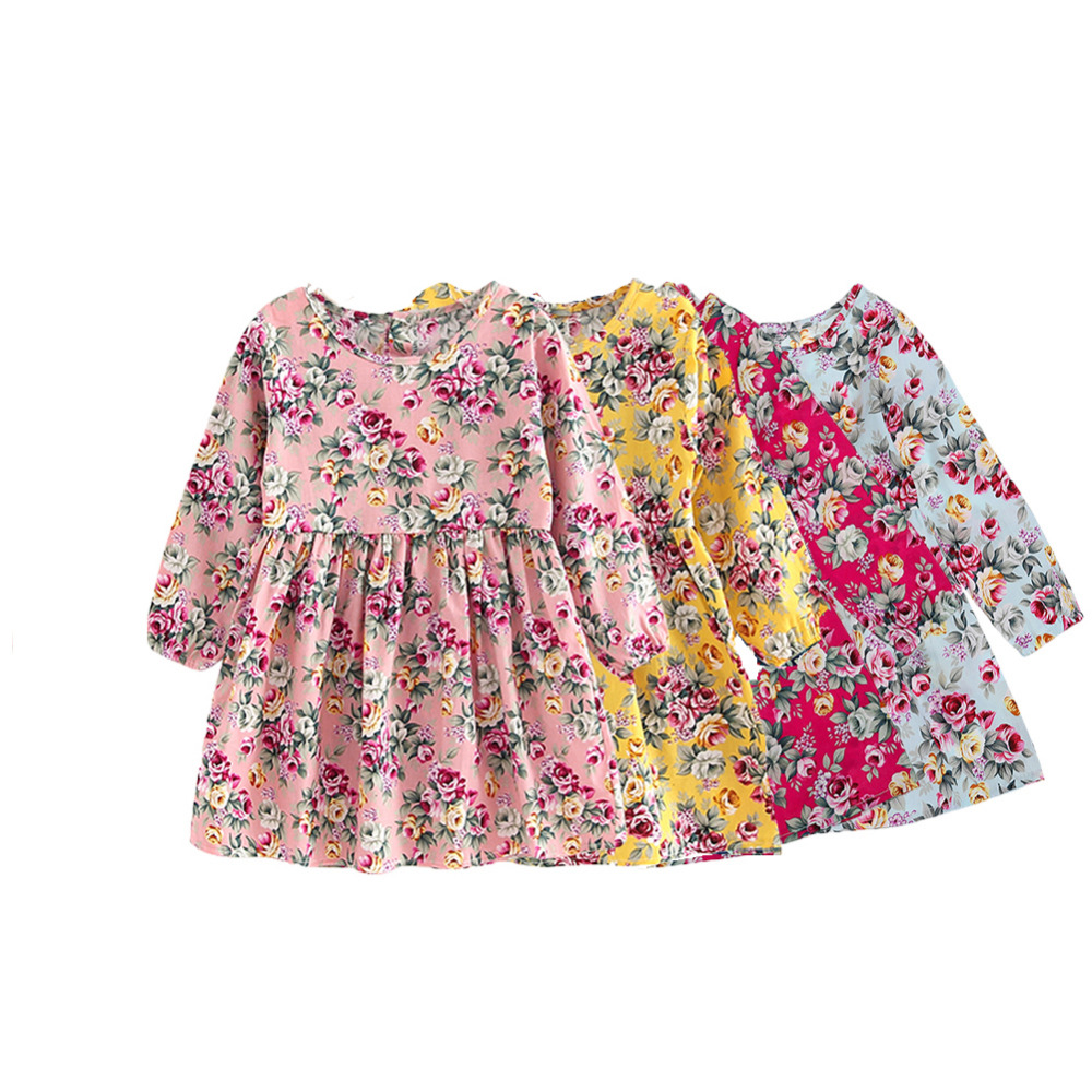 Summer Baby Kids Dresses Children Girls Long Sleeve Floral Princess Dress Spring Summer Dress Baby Girls Clothes dress for girl red blue kids dresses for girls long sleeve princess dress girls clothes flower bow decortion baby infant girl dress cheep price