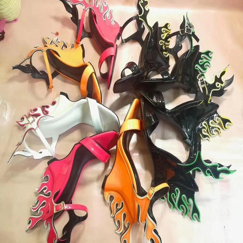Tenue Picture Mode Mélangée Cuir As Picture Wedge New En Verni Chaussures Fête Couleur Talons Sandales Luxe De Femmes as Flamme Peep 2019 Toe PRTq8wO