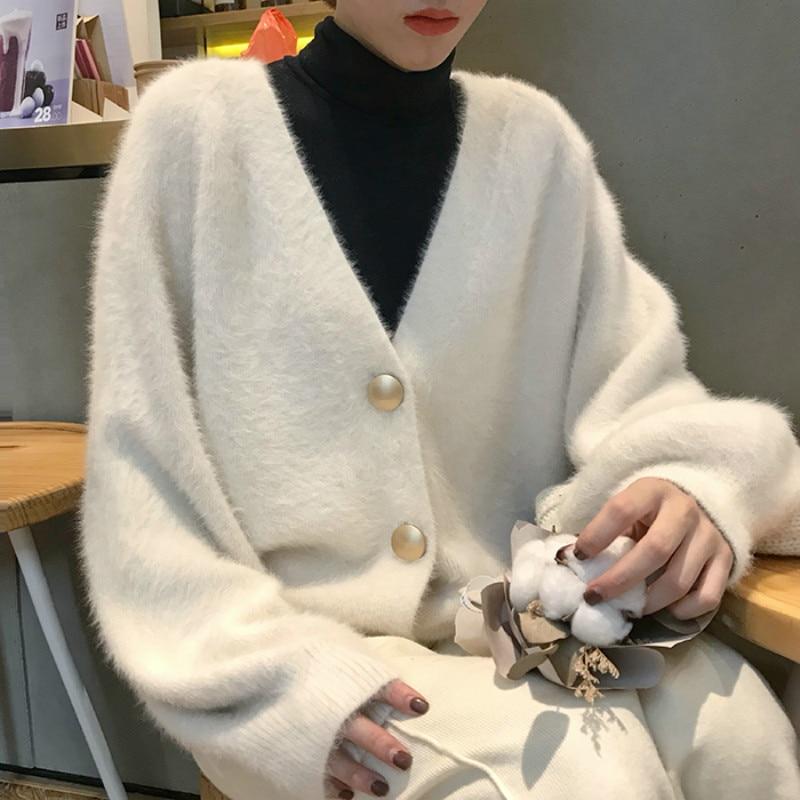 Women Autumn Winter Mink velvet white Sweater coat long sleeve Knitted Cardigan V neck Casual Plus Size Sueter Truien Dames